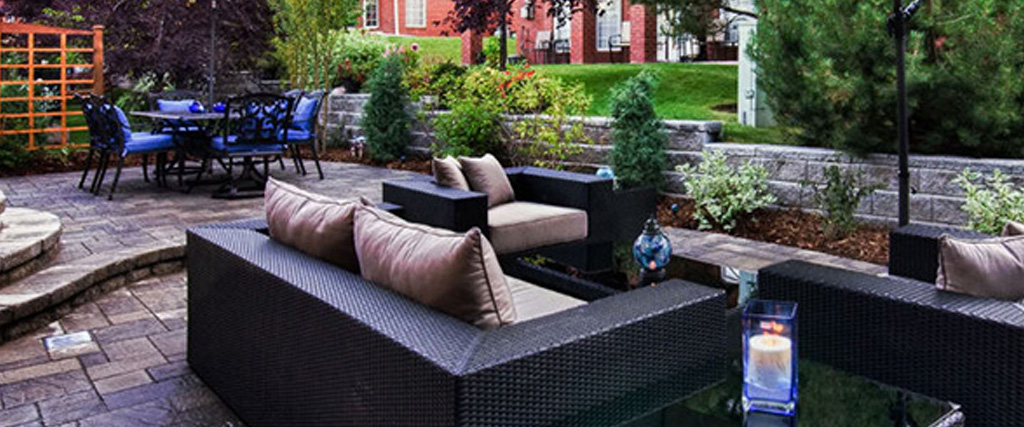 Retaining walls create a sunken outdoor living room.