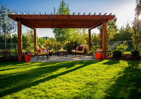 Patio and arbour in Calgary yard