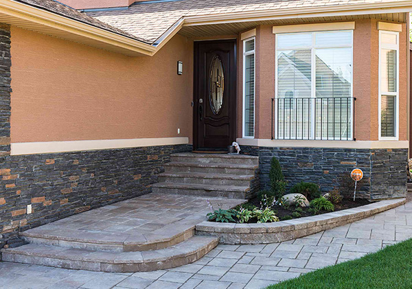 Front yard step and patio design in the landscaping.