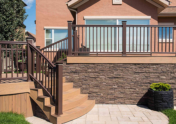 Stone wall design on the raised deck.